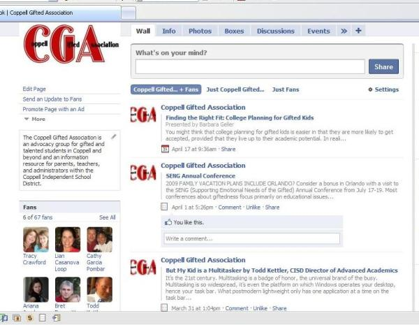 This is the home page for CGA's Facebook page.